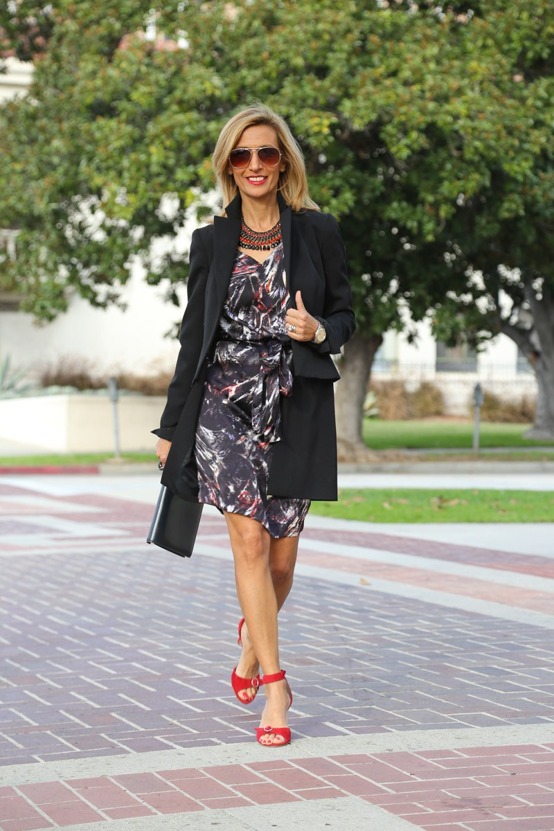Black coat over a fun dress for my holiday look-0345