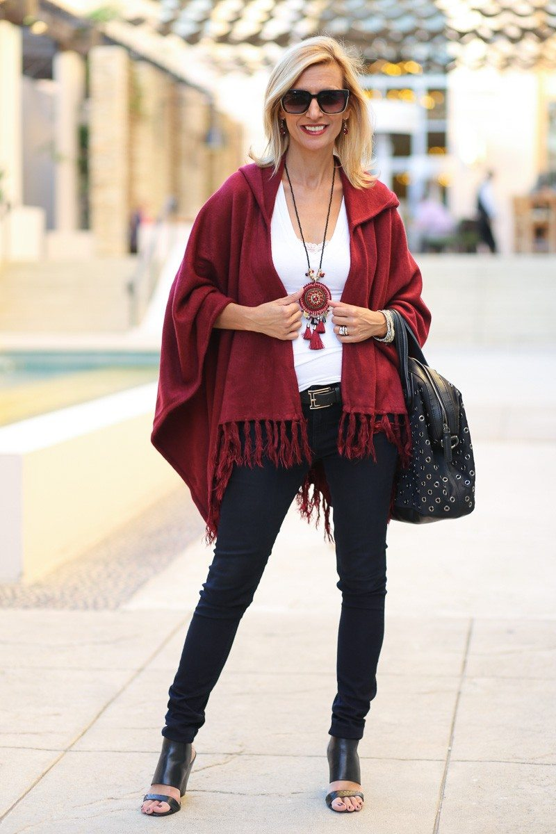 Jacket-Society-Merlot Hooded Poncho With Fringe-9699