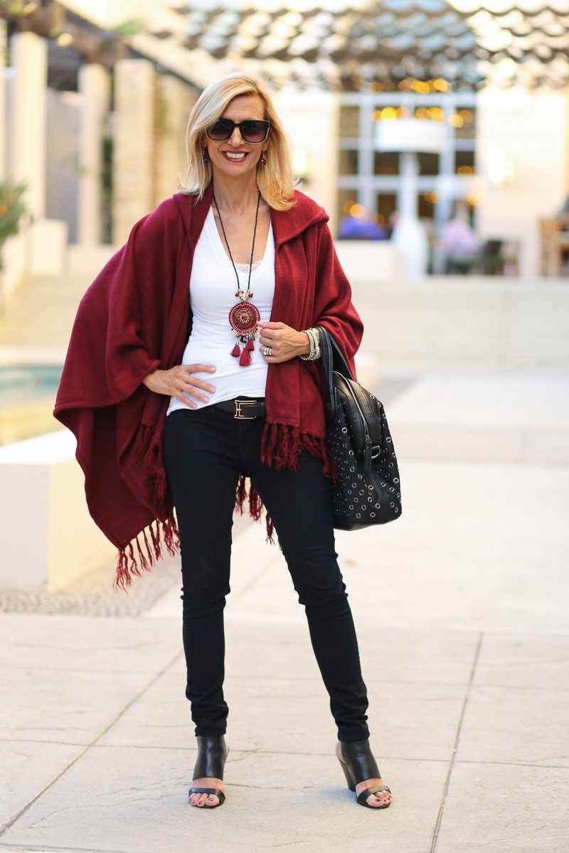 Jacket-Society-Merlot Hooded Poncho With Fringe-9701