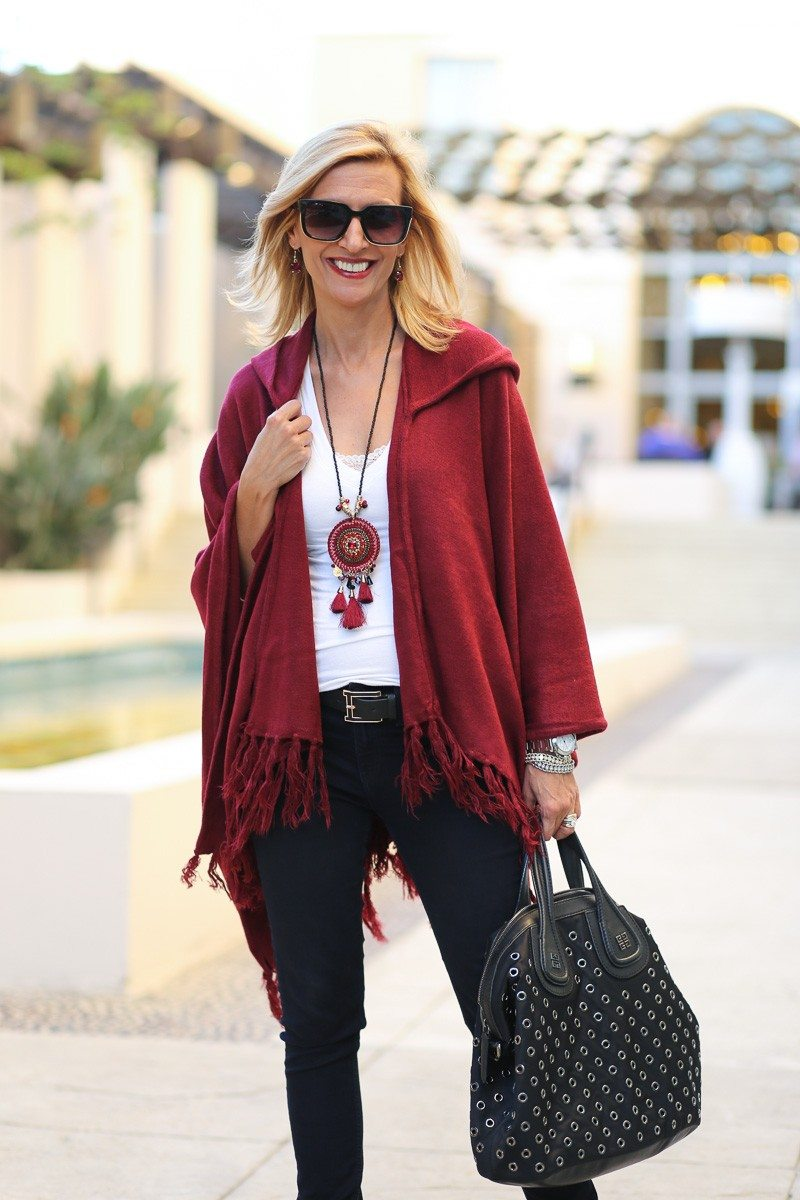 Jacket-Society-Merlot Hooded Poncho With Fringe-9710