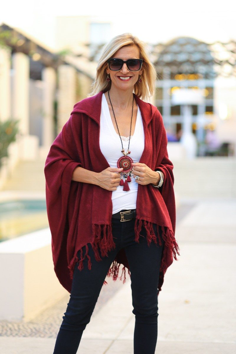 Jacket-Society-Merlot Hooded Poncho With Fringe-9713