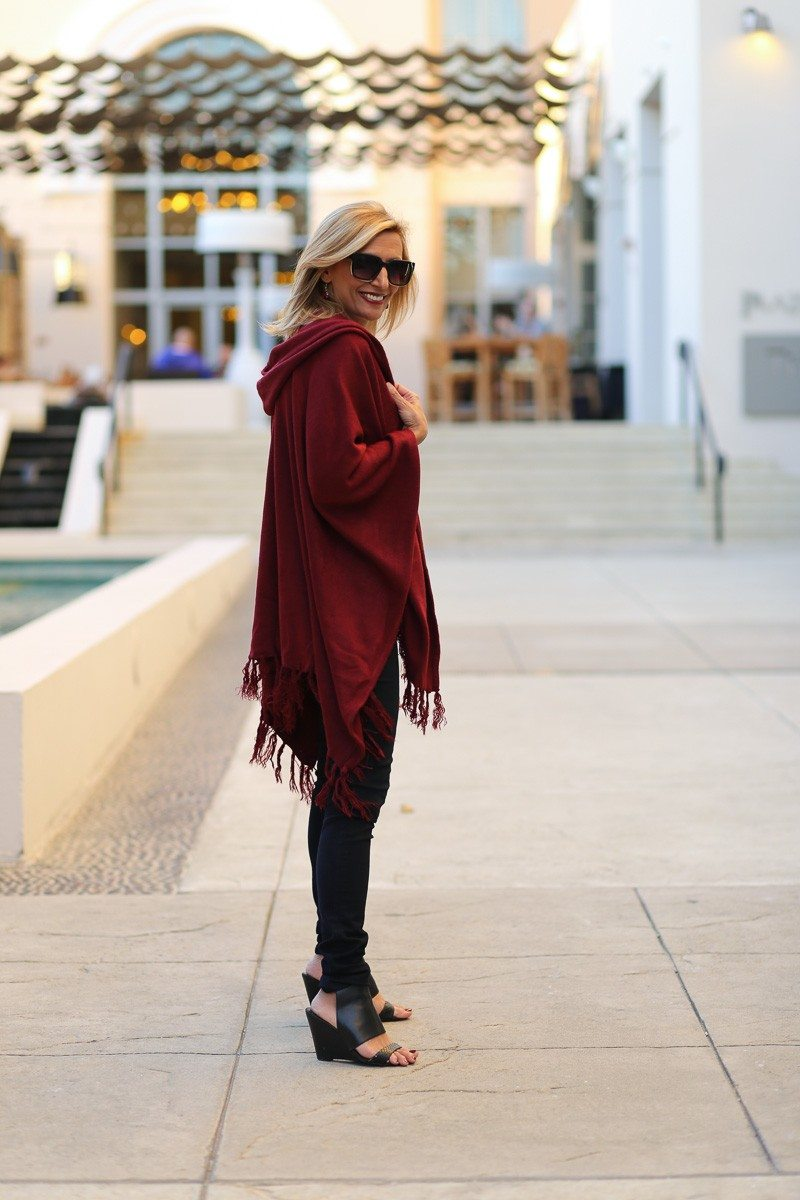 Jacket-Society-Merlot Hooded Poncho With Fringe-9725