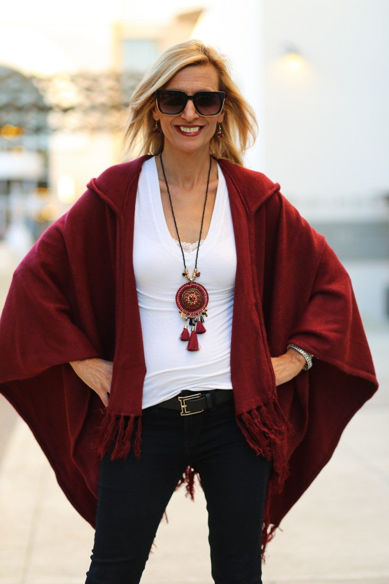 Jacket-Society-Merlot Hooded Poncho With Fringe-9728