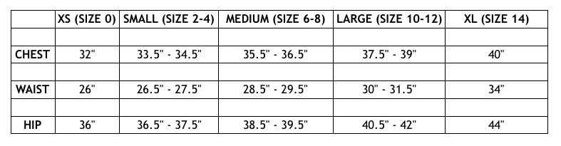 Jacket Society Size Chart