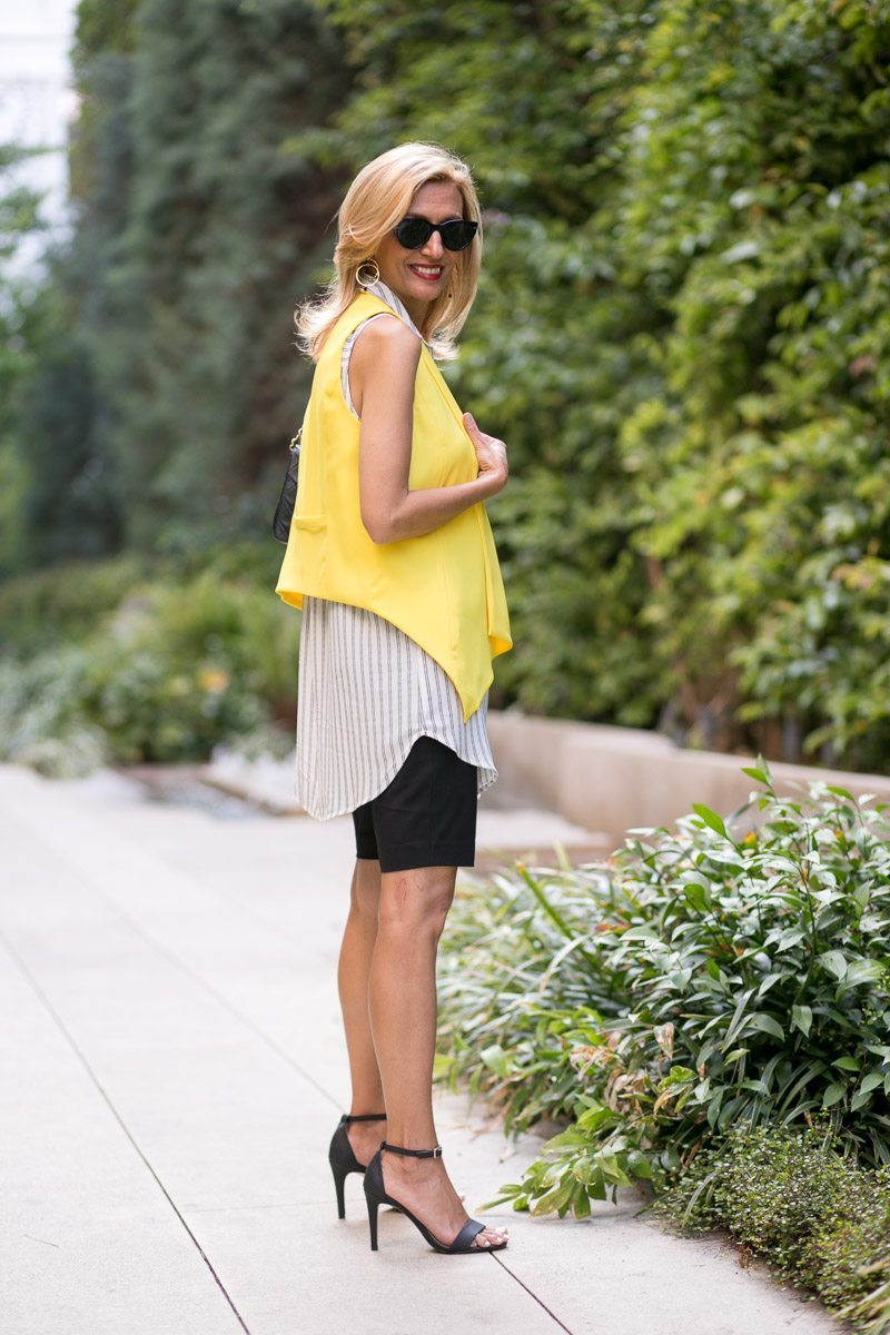 Canary Yellow Vest And Stripe Lace Up Tunic-Jacket-society-4990