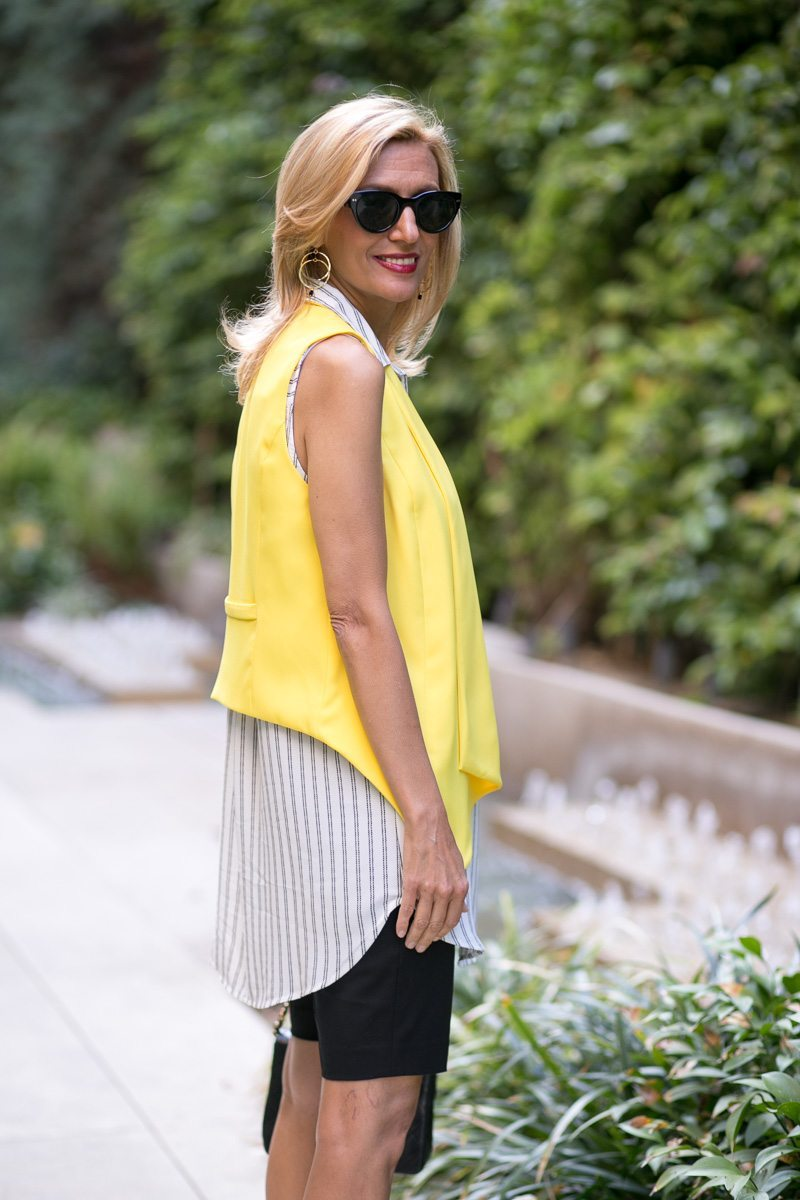 Canary Yellow Vest And Stripe Lace Up Tunic-Jacket-society-4993