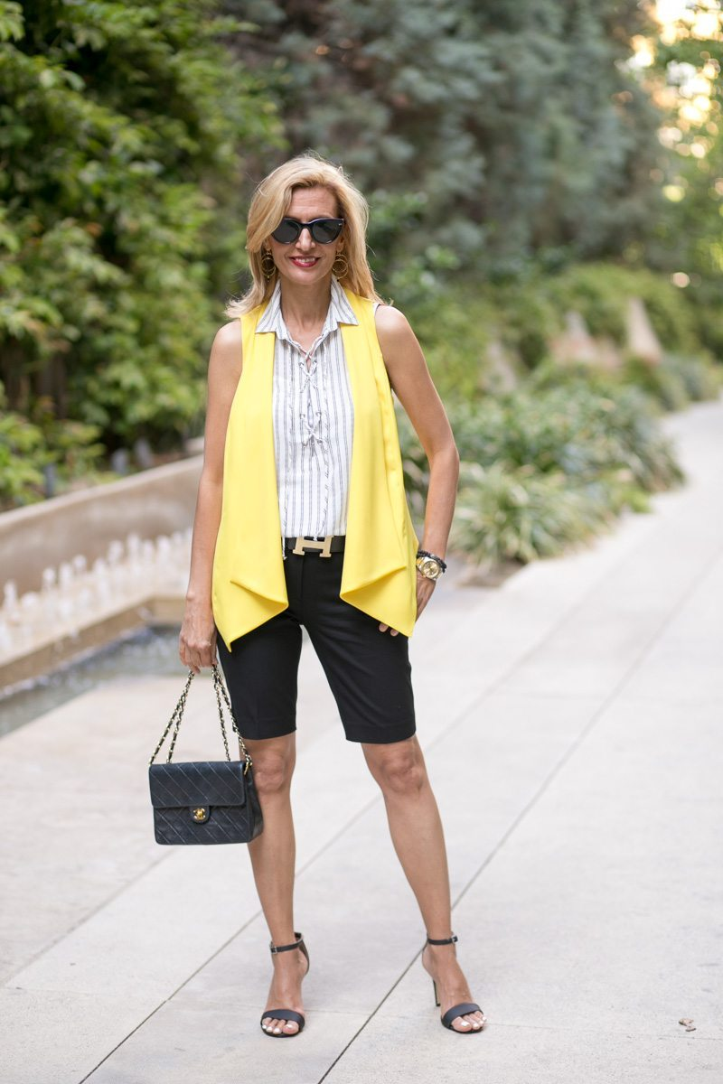 Canary Yellow Vest And Stripe Lace Up Tunic-Jacket-society-5010