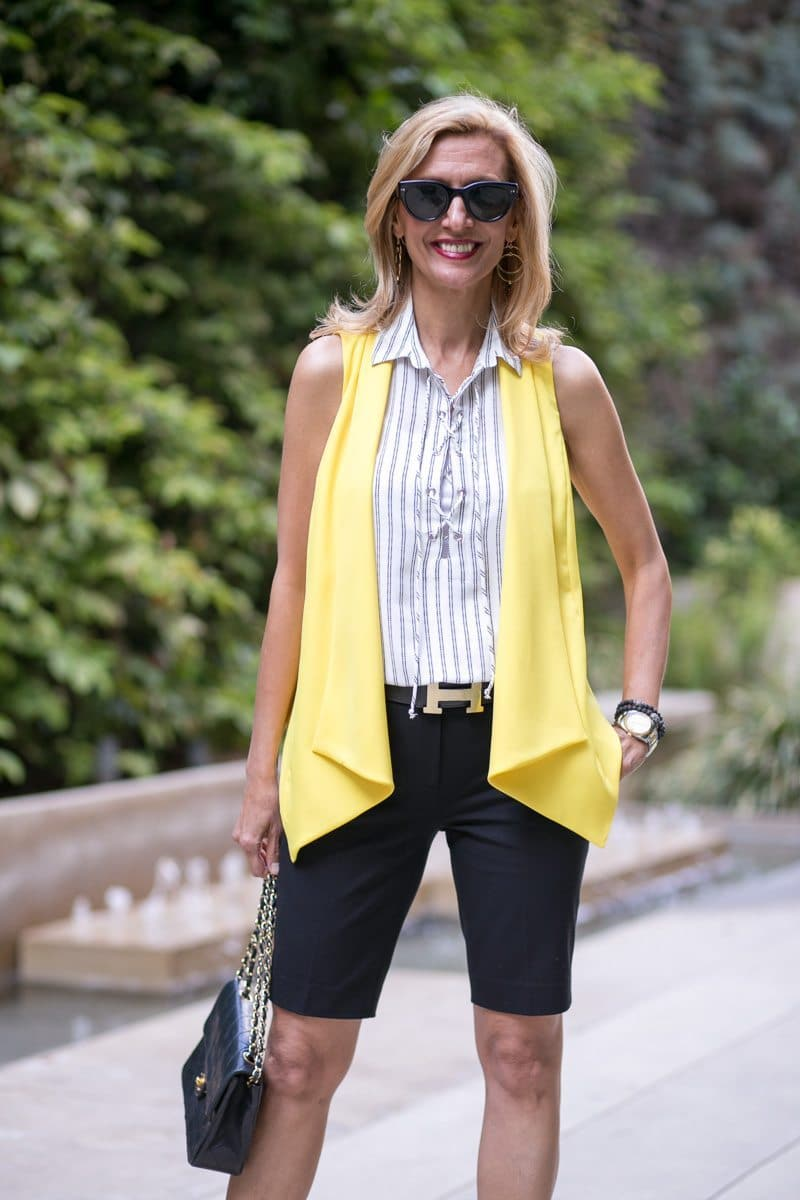 Canary Yellow Vest And Stripe Lace Up Tunic-Jacket-society-5016
