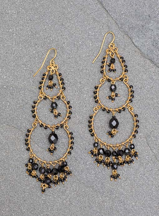 Gold Plated Chandelier Earrings With Black Stones