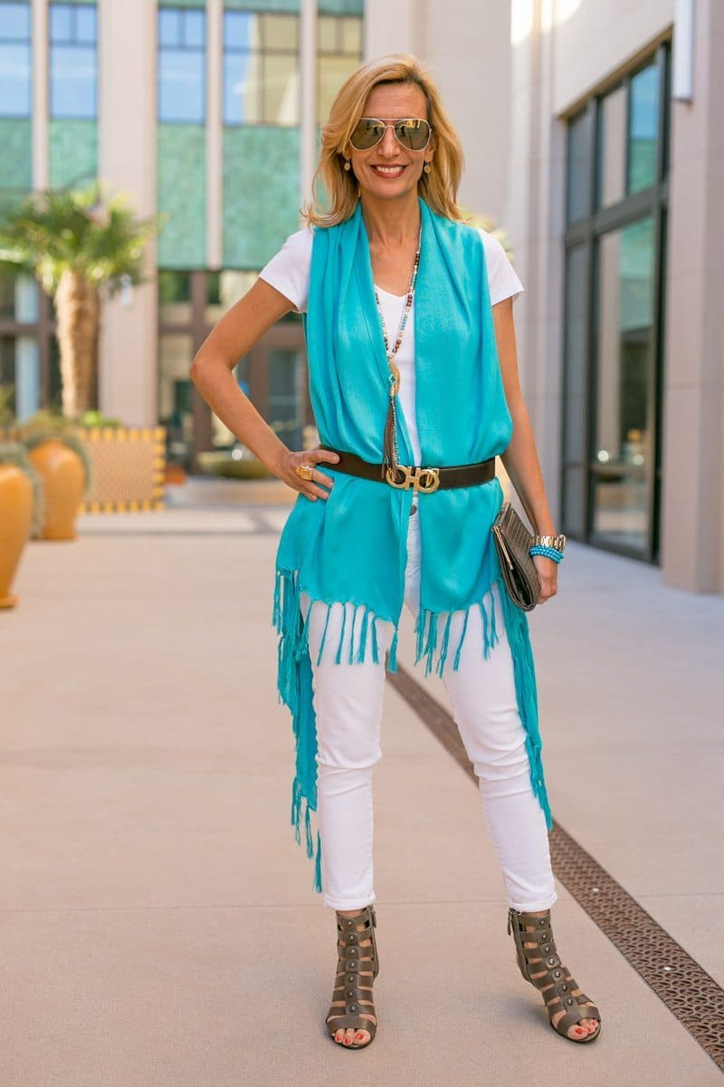 Turquoise Shawl Wrap with fringe is so versatile