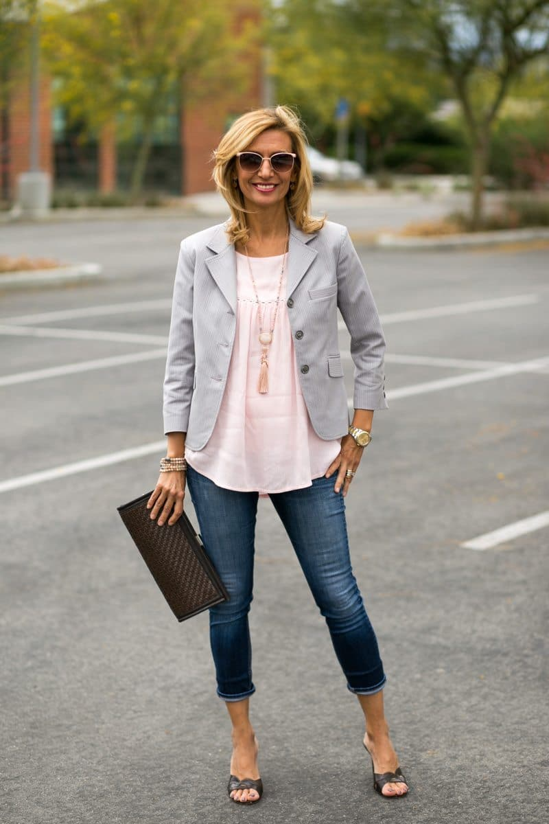 womens casual business jacket matched with a soft pink blouse