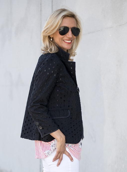 Black Eyelet Embroidered Jacket