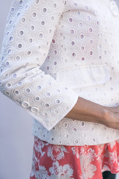 White Eyelet Embroidered Jacket