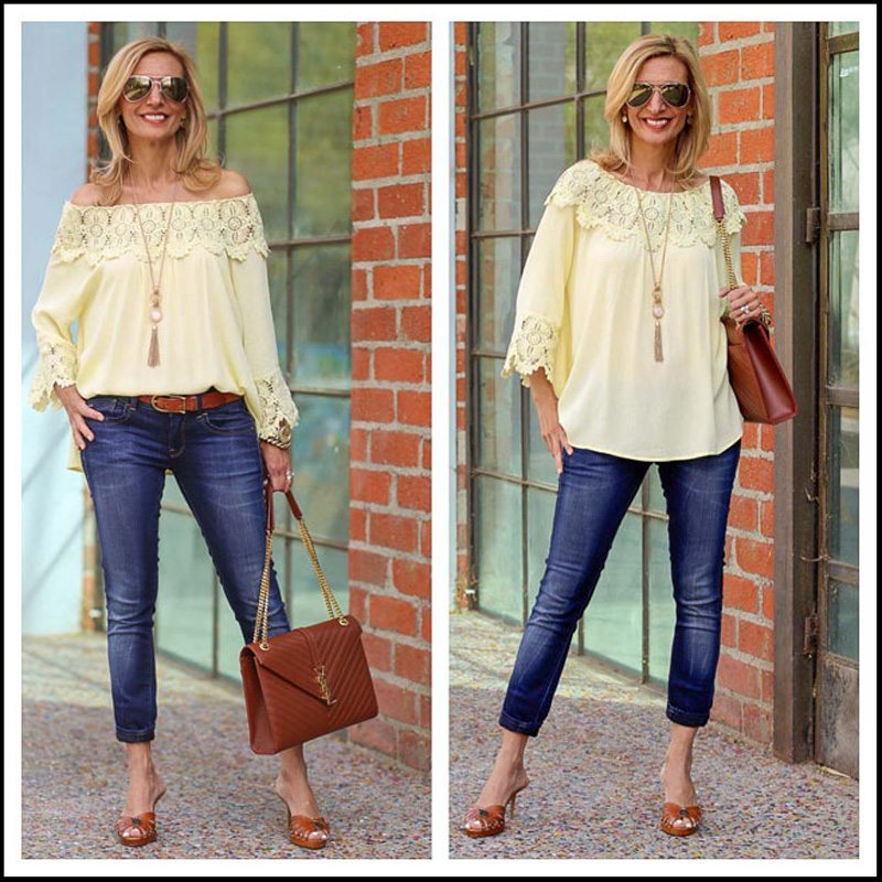 Maize Off The Shoulder Top With Matt Gold Cream Stone Necklace