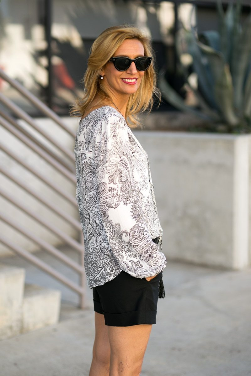 Mixing Patterns With Our Gypsy Print Top And Milano Blazer-Jacket-Society-5201