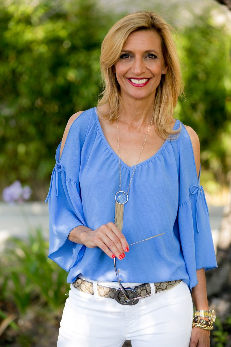 off the shoulder womens top in a santorini blue