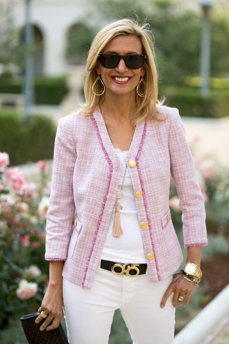 rose fringe boucle jacket with gold buttons