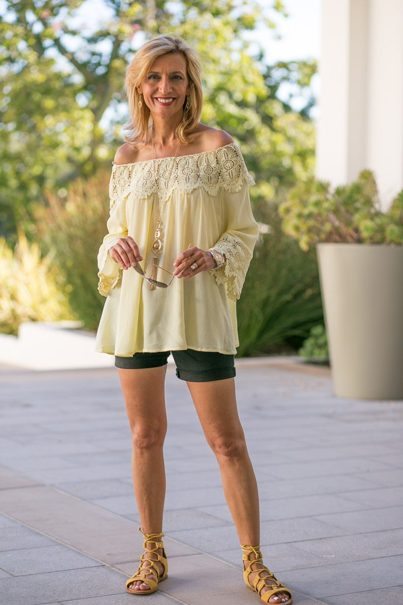 Maize-Yellow-Womens-Off-The-Shoulder-Top-Jacket-Society-6030