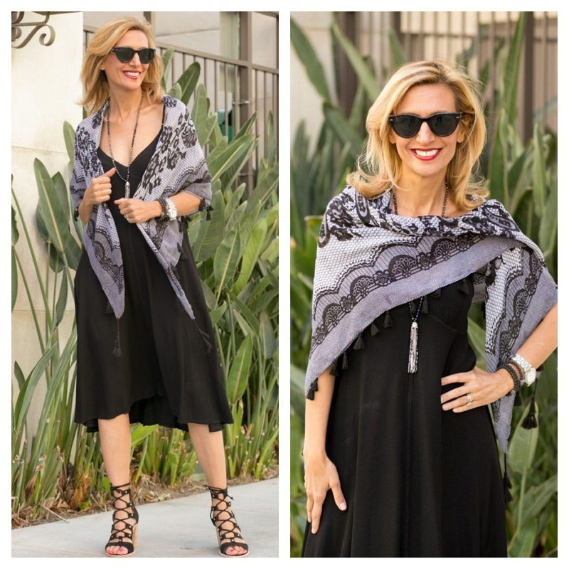 Sheer-Voile-Black-And-White-Print-Square-Scarf-With-Tassels