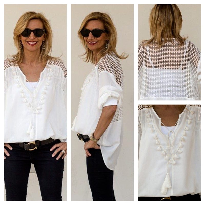 White Peasant Blouse For Sale 93