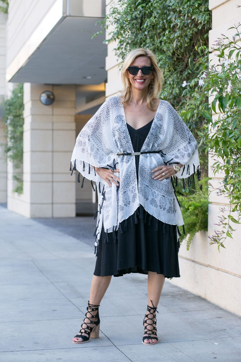 womens poncho with black and white batik print