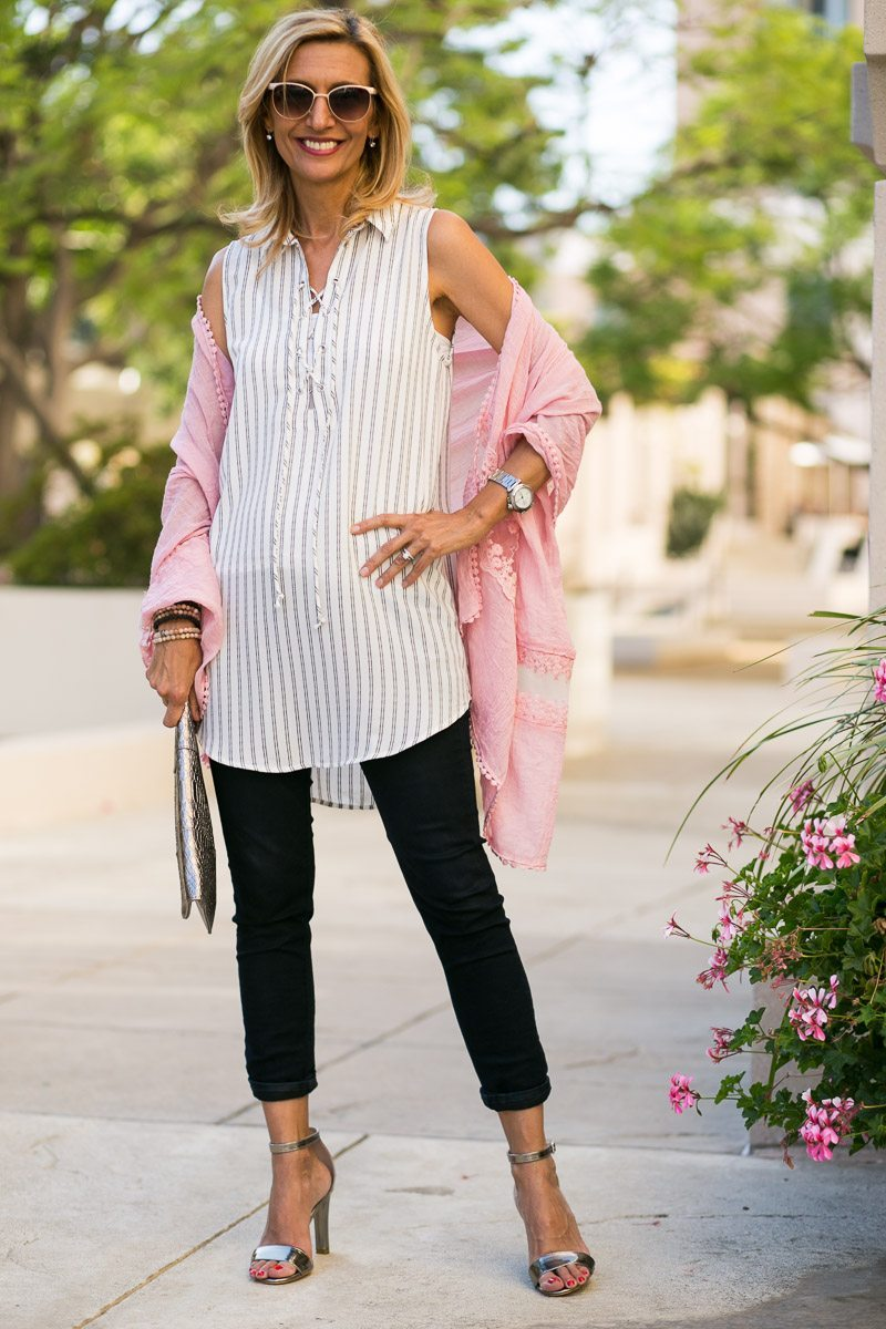 womens stripe lace up tunic with pink shawl wrap