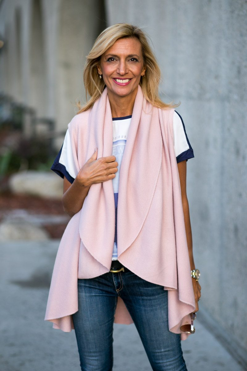 womens pale pinkl cape vest
