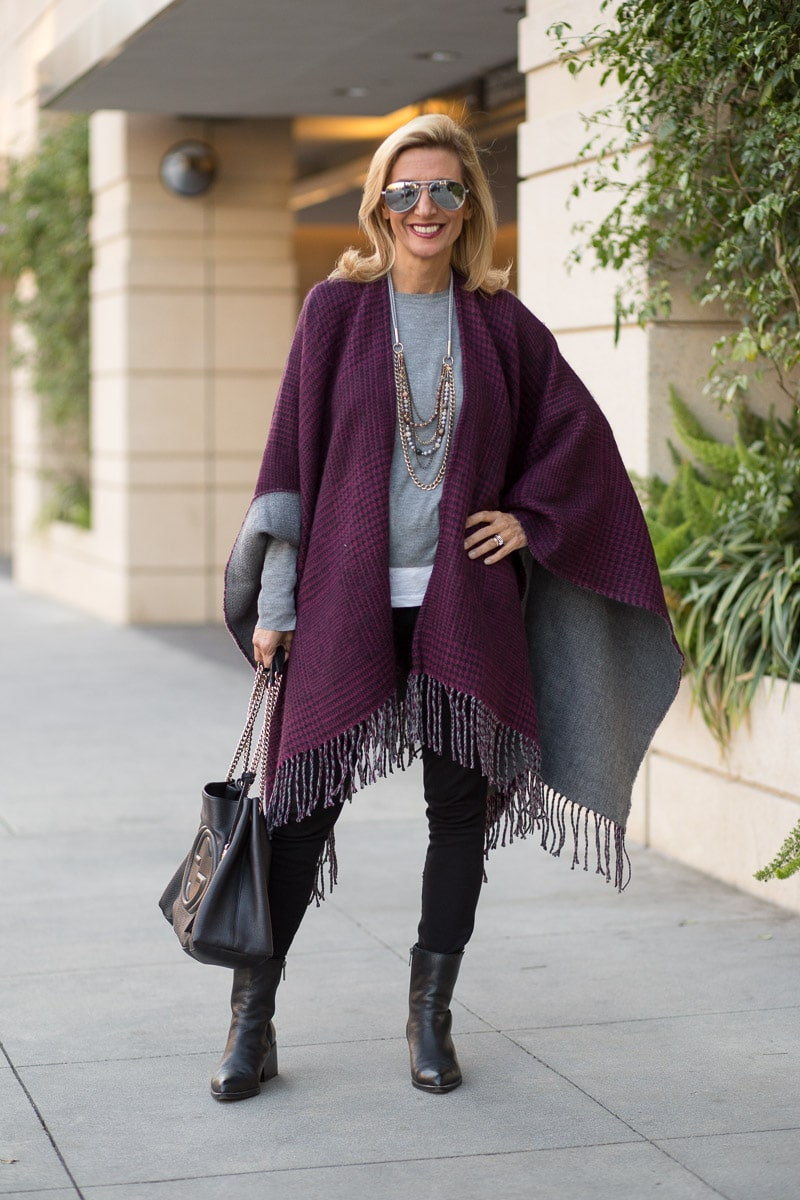 purple-black-houndstooth-and-solid-gray-reversible-poncho-jacket-society-0045