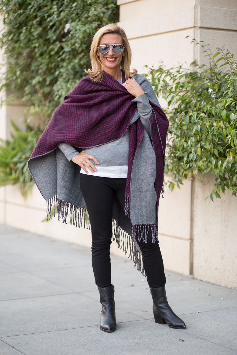 purple-black-houndstooth-and-solid-gray-reversible-poncho-jacket-society-0052