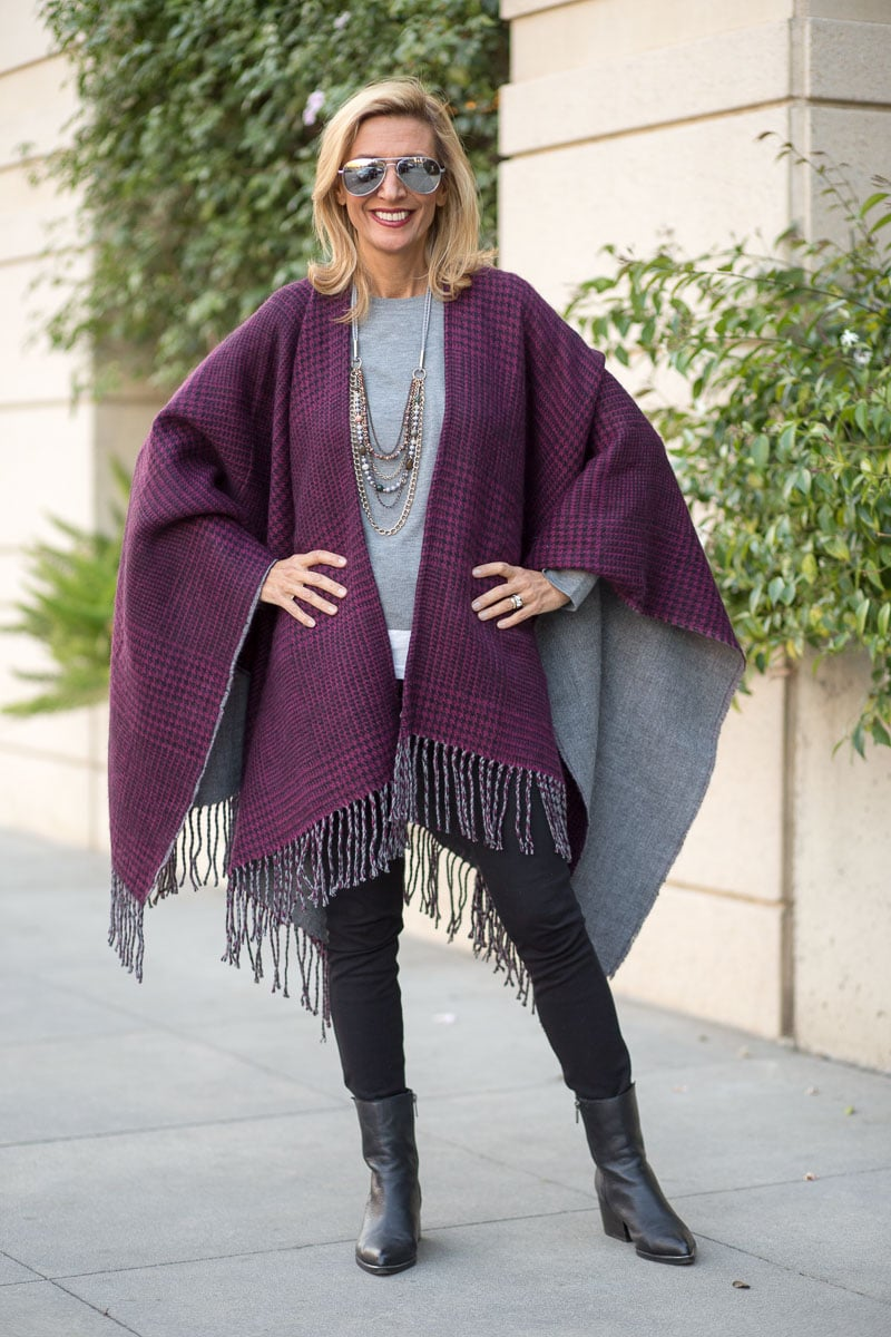 purple-black-houndstooth-and-solid-gray-reversible-poncho-jacket-society-0054