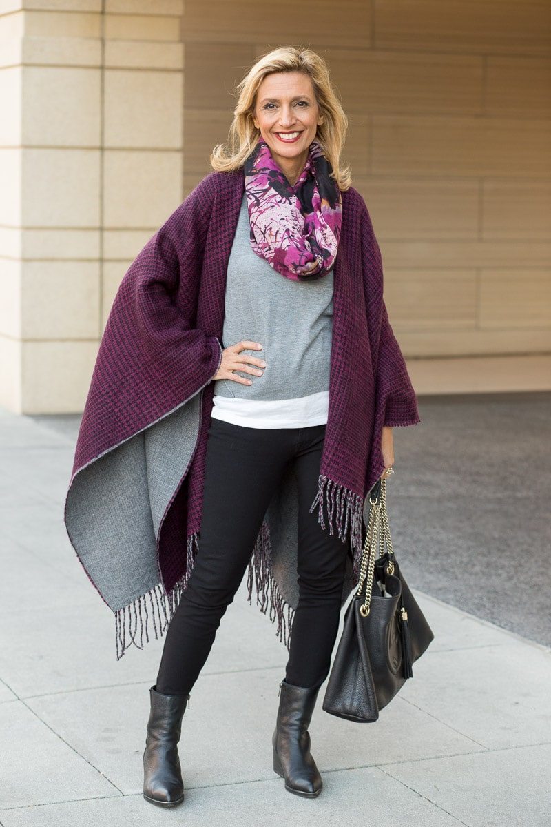 purple-black-houndstooth-and-solid-gray-reversible-poncho-jacket-society-0060