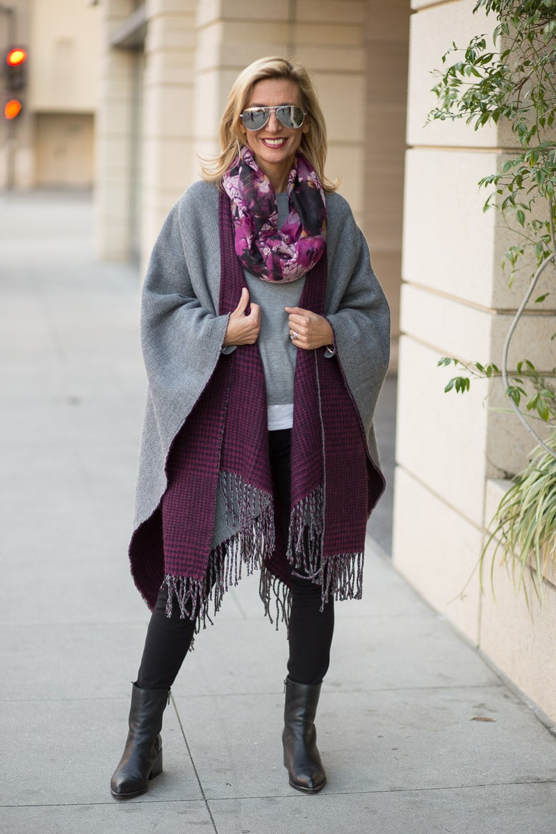 purple-black-houndstooth-and-solid-gray-reversible-poncho-jacket-society-0065