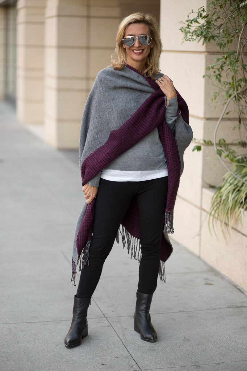 purple-black-houndstooth-and-solid-gray-reversible-poncho-jacket-society-0070