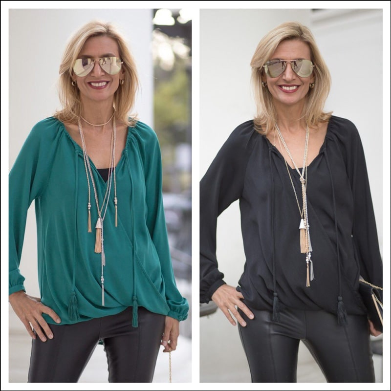 Teal-Crossover-Blouson-Top-and-Black-Crossover-Blouson-Top
