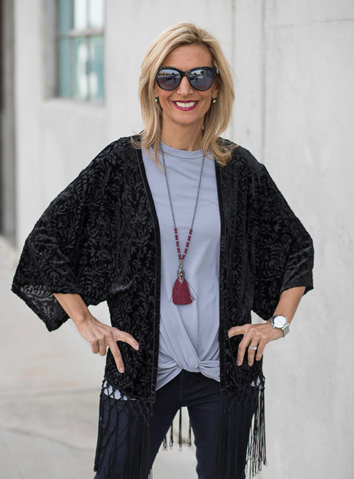 black velvet burnout kimono for women
