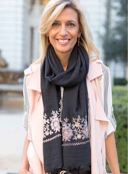 Black Scarf Shawl With Floral Embroidery Border