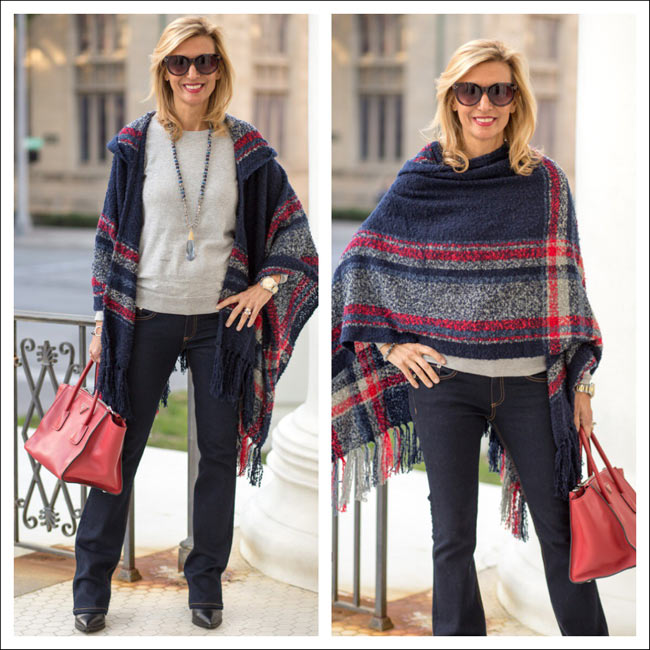 Red-Gray-And-Blue-Boucle-Poncho-Jacket-Society