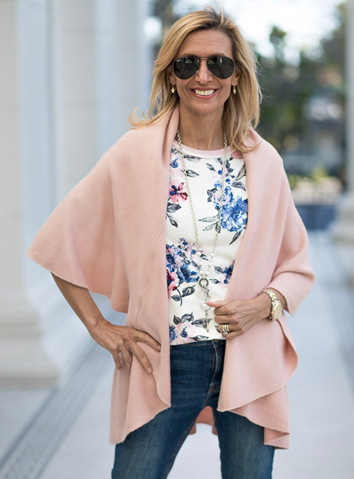 pale pink cape vest for spring
