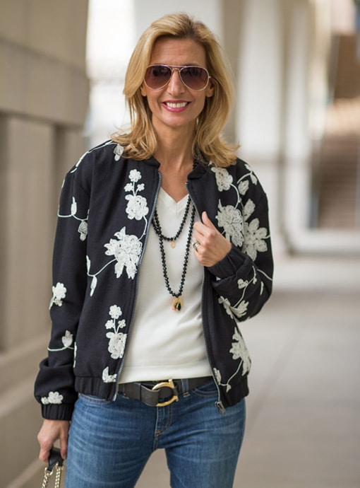 womens black embroidered bomber jacket with zip front