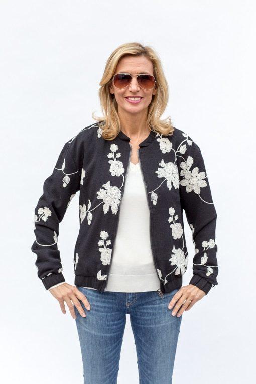 Black Bomber Jacket With Ivory Floral Embroidery 110 00