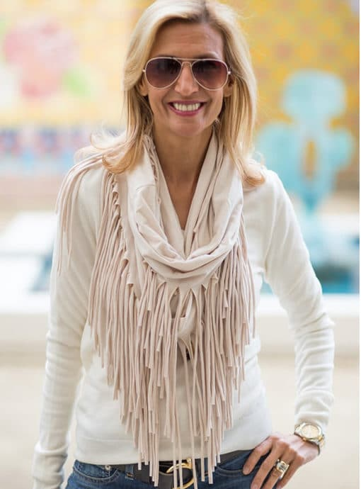 womens fringed snood scarf in ivory