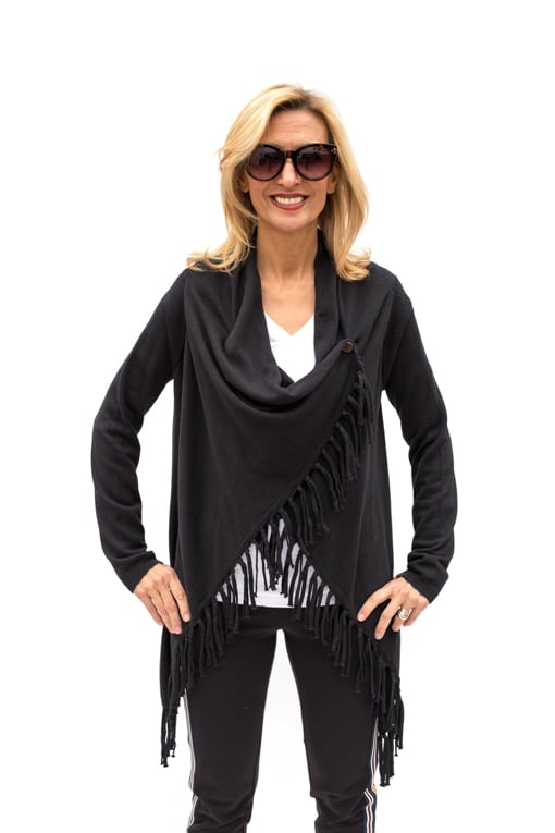 Black-Asymmetrical-Cardigan-With-Fringe-Jacket-Society