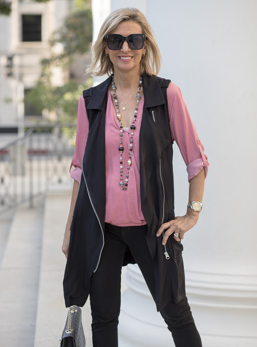 Black Belted Long Moto Vest