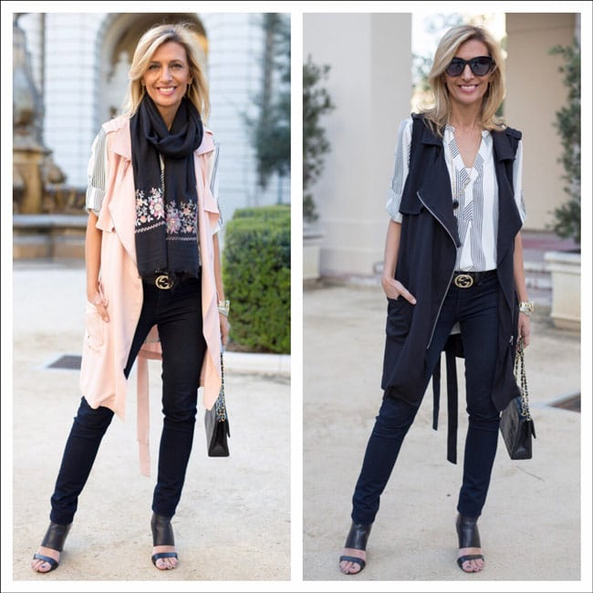 black and blush pink long belted sleevless moto jackets