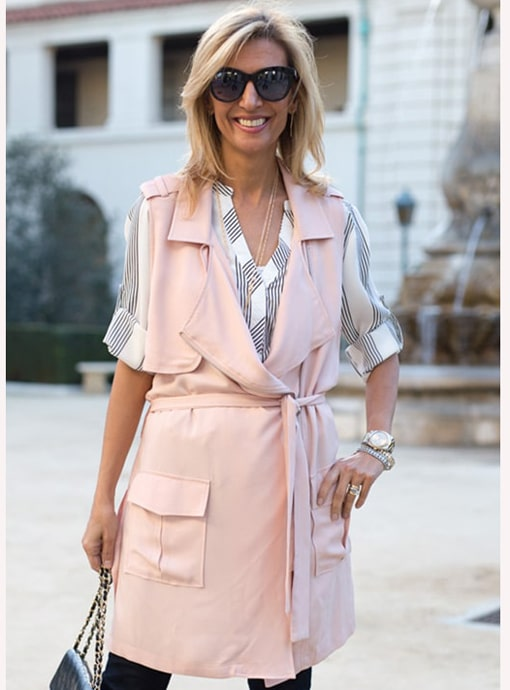 blush color long belted moto jacket