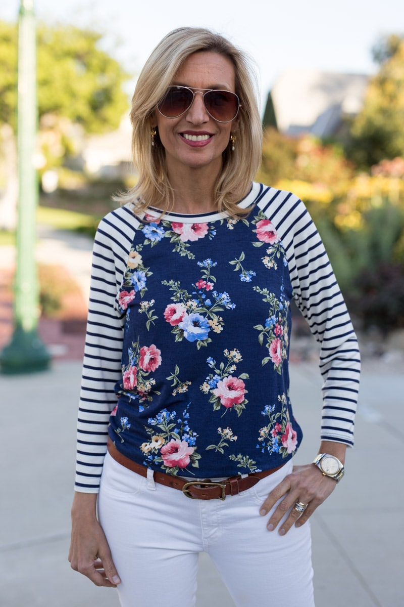 Ivory-Navy-Pink-Floral-Stripe-T-Shirt