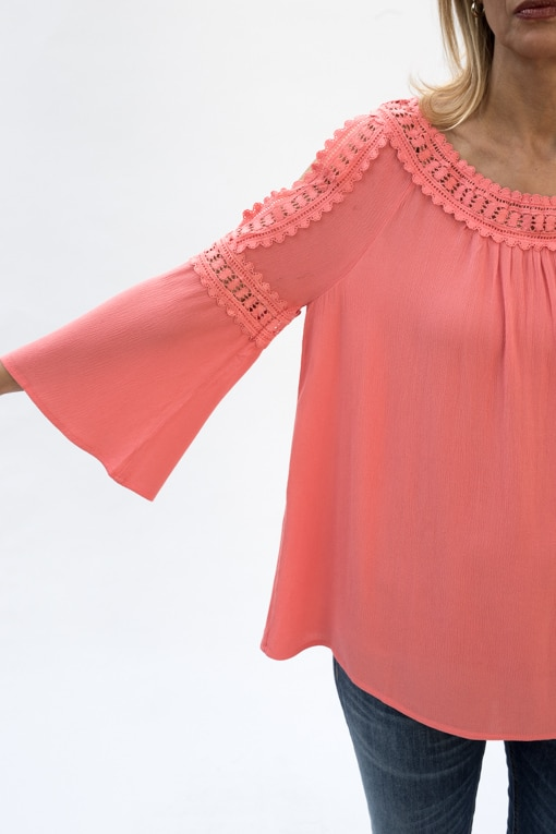 Coral Cold Shoulder Top With Lace Trim