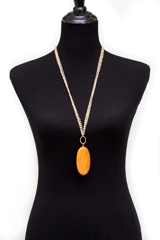 Multi-beaded-string-necklace-with-orange-stone