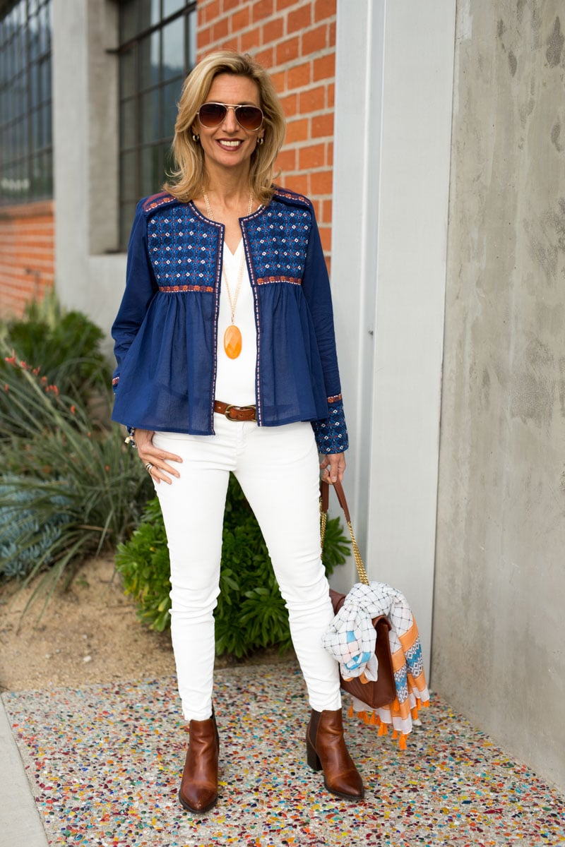 short cropped navy cotton embroidered womens jacket white pants