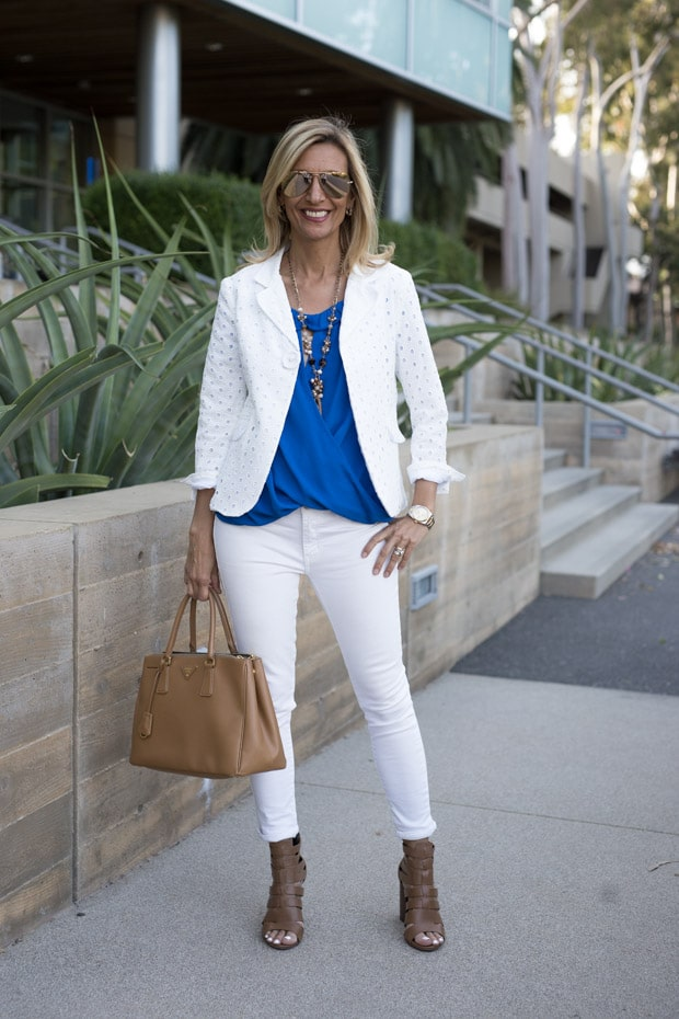 White Eyelet Cotton Jacket with off shoulder top